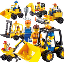 6 In 1 Set City Construction Engineering Building Block Set Boys Brick Toys Excavator Crane Forklift Bulldozer Drill Truck