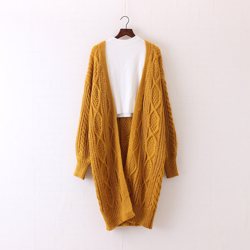 H.SA 2017 Women Long Cardigans Autumn Winter Open Stitch Poncho Knitting Sweater Cardigans V neck Oversized Cardigan Jacket Coat 14