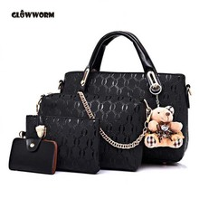Famous Brand Women Bag Brand 2017 Fashion Women Messenger Bags Handbags PU Leather Female Bag 4 piece Set XP659(China)