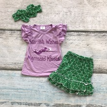 baby girls clothing purple green Quaterfoil mermaid kisses boutique short sets starfish wishes kids Summer clothes with bow set