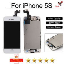 For iphone 5s lcd display touch screen for iphone5s Digitizer Assembly White+Home Button Camera Speaker Replacement on sale