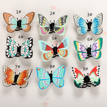 10pc/lot Polymer Clay Fimo Big Hair Butterfly Clips Claw Clip Handmade Fashion Simulation Butterfly Hair jewelry Decoration Clip(China)