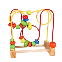 Baby Mini Wooden Around Beads Wooden Toys Maze Baby Intellectual and Brain Development Early Educational Toys for Kids Birthday(China)