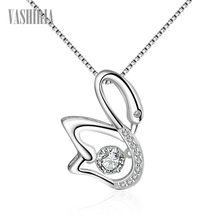 Necklace fashion jewelry 925 silver white gold color female Swing design crystal swan pendants personality necklaces for women