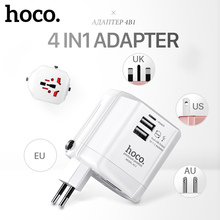 HOCO 2.4A Universal Travel Charger Adapter Dual USB Charger Folding Plugs EU UK US AU Smart Charging for iPhone Samsung Xiaomi(China)