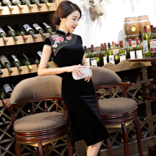 Buy Black Traditional Chinese Short Cheongsam Women's Elegant Velour Qipao Novelty Sexy Dress SizeS M L XL XXL 3XL F092010 for $39.78 in AliExpress store