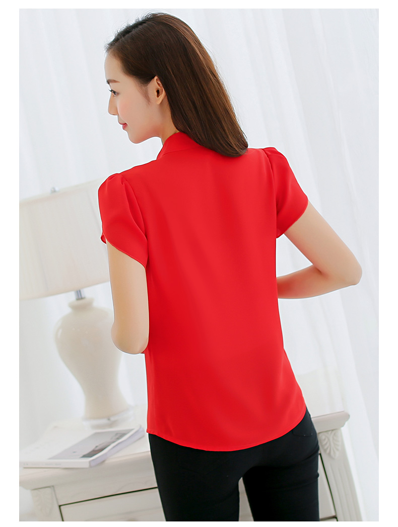 Plus Size - Short Sleeve Bodycon Chiffon Blouse Tops (Us 6-16W)