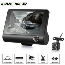 "Onever 4"" 1080P Three Lens Car DVR Dash Cam Camera Camcorder Support G-sensor/Motion Detection/Loop Recording/Parking Monitor(China)"