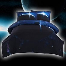 WARM TOUR DHL 4pcs Galaxy Bedding Bed Comforter Set 3D Blue Space Duvet Cover Kids Galaxy Bedding(China)
