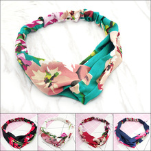 Hair Accesorries Headbands for Women Baby Head band Girl Hairbands Floral Print Silk Satin fabric Hair Band Elastic Cross Turban