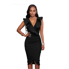 Sexy Bodycon Dress Asymmetry V-Neck Sleeveless black Color Work Office Package Hip dress Shoulder Mint women dresses DLM61474-1(China)