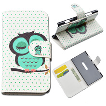 Cute Printing Flip Leather Case for Nokia Lumia 920 Flip Cover for Nokia 920 Wallet Case with ID Card Holder 4 Colors in Stock(China)