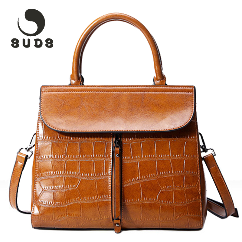 SUDS New Genuine Leather Bags For Women 2017 Vintage Solid Womens Crossbody Handbag Shoulder Bag Female Zipper Famous Brand<br>