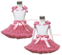 White Pettitop Top Shirt Dusty Pink Bow Pettiskirt Dress Set 1-8Y MAPSA0531
