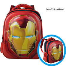 Kindergarten Marvel Iron Man Schoolbag /Boys 3D Pattern Backpacks/Cartoon Design Book Bags/Children Mochila