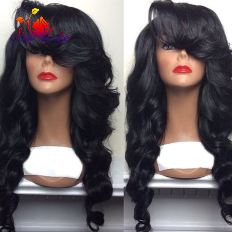 Premium Black Brazilian Black Wave Free Parting With Bangs glueless heat resistant synthetic lace front wig Synthetic Hair Wig<br><br>Aliexpress