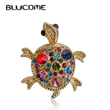 Blucome Red Tortoise Brooch Hat Scarf Sweater Pins Up Turtle Animal Brooches For Woman Kids Girls Best Gifts Birthday Jewelry(China)