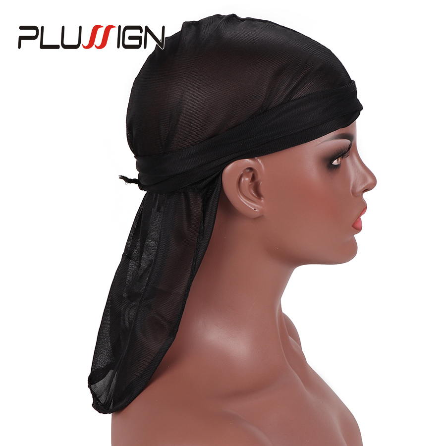 Hairnets Hair Extensions & Wigs Efficient 6pcs Cheap Fashion Durag Doo Du Rag Black Colored Mane Du-rag Cap Hat Men Smooth Waves Durag Cap Long Tail Cao With Headwrap