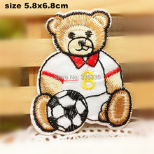 CPAM Shipping 10 pcs bear with football cartoon Embroidered patch iron on Motif sew on iron on Applique DIY accessory