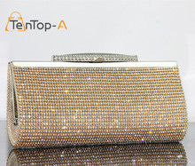 TenTop-A Factory Selling Good Quality Women Full Diamond Clutch Evening Bag Luxury Rhinestone Bling Wedding Bridal Shoulder Bags