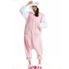 Animals Anime CUTE pink KT Cat Kitty Onesie Adult Unisex Cosplay Costume Pajamas All In One Christmas Party KT Jumpsuit free shi
