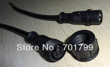 10pcs/lot 3 Core BLACK Waterproof pigtail,20cm long each;male and female;male connector's diameter:13.5mm(China)