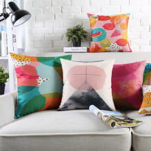 Wholesales Linen Pillow Cover Abstract Colorful Watercolor Cloud Block Cushion Cover Home Decorative Pillow Case 45x45cm/30x50cm(China)