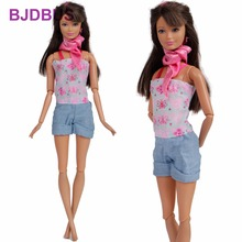 Fashion One-piece Outfit Gallus Jumpsuit Cute Pattern Short Trousers Scarf  Clothes For Barbie Doll b1e86922542f