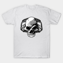 2017 New Arrival Brand White Men T Shirt Original DJ Skull Music Printed T-Shirt Short Sleeve Tee Tops Funny Modal Homme Clothes