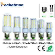 Led Bulb e27 E14 Corn Led Bulb 5730 LED Light 220V CFL 7W 11W 15W 17W 20W 25W Lamp 31 58 74 105 140 170Leds Lighting(China)