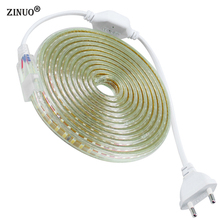 ZINUO 220V LED Strip 2835 120Leds/M IP67 Waterproof With EU Power Plug LED Tape Light String Ribbon Brighter Than 3528 5630