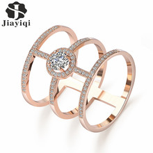 2017 Hot Gorgeous Crystal Top Zircon Long Finger Ring For Women Fashion Rose Gold Color Luxury Wedding Rings Jewelry