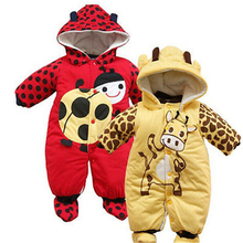 Winter Warm Baby Children Romper  Newborn Girl Boy Toddler Infant Hoodie Jumpsuit Red ladybug Beige Yellow Cow thick Romper