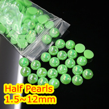 Jelly Grass Green AB Color 1.5mm~12mm All Size Choice Flat back ABS round Half Pearl beads, imitation plastic half pearl beads