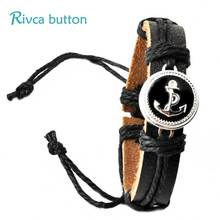 Europe Punk Hand Made Braided Charm Bracelet Bangles Anchor Wristband Cuff Leather Bracelet Men Fit Rivca Snap Button Jewelry