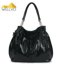 Hot Women Leather Serpentine Handbags High Quality Shoulder Bag Snake Embossed Bags Luxury Tote Shopping Bag Bolsos Mujer XA356C