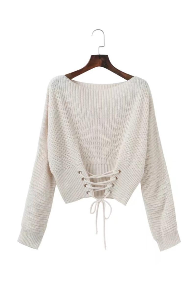 Autumn Lace Up Sweater, Women's Knitted Solid Jumper, Adjust Waist Bandage Sweater 19