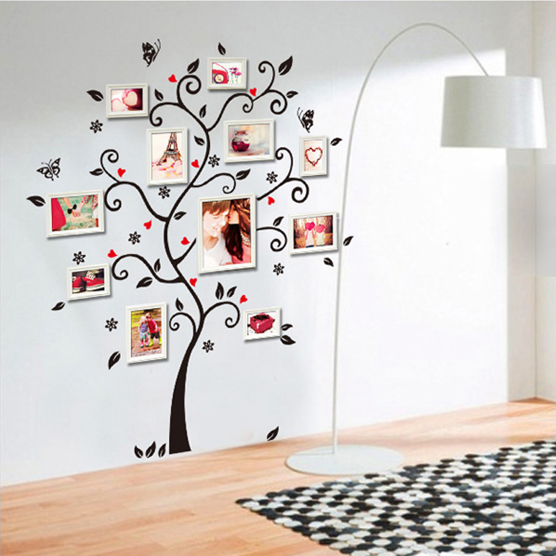 DIY Photo PVC 3D Wall Sticker Living Room Wall Decals Adhesive Tree Wall Stickers Mural Art Home Decor Removable Wall Decoration