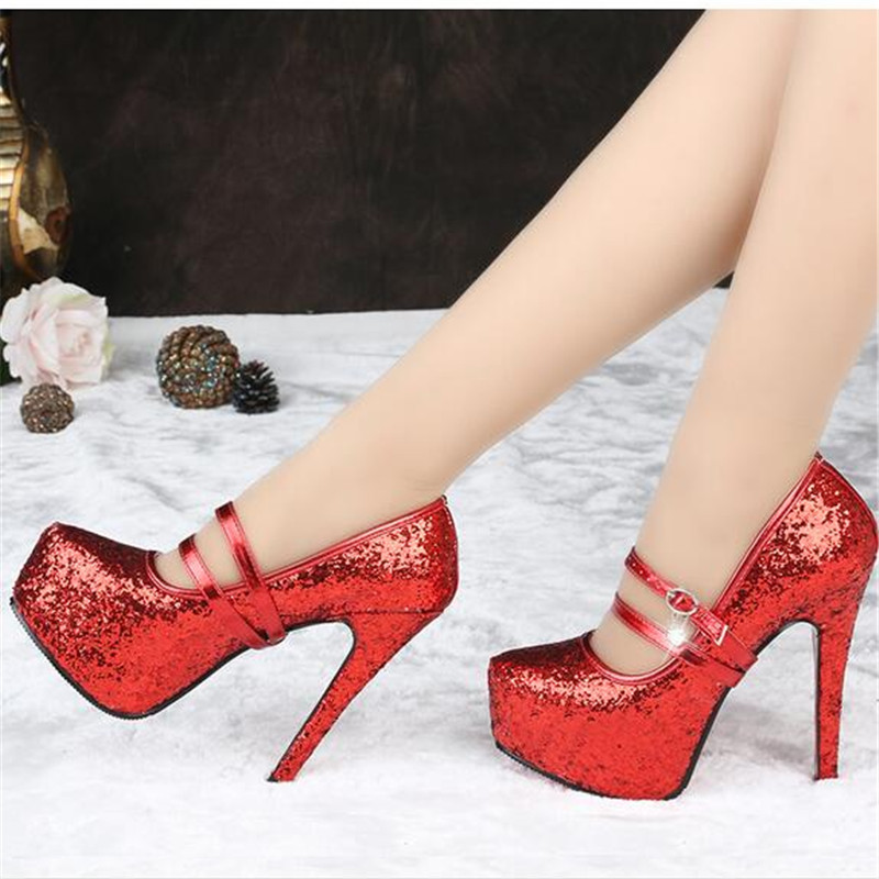 11cm/14cm gold Sliver Red single womens shoes paillette Ultra high-heeled shoes platform thin heels prom wedding shoes 33 34-41<br>