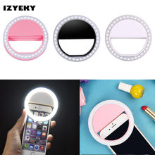 IZYEKY rechargeable LED Selfie Phone Ring Flash Light Luminous For iPhone 8 Plus 7 6S 5s X Samsung S8 For Xiaomi Huawei Oneplus(China)