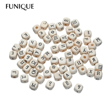 FUNIQUE 200PCs square Cube Russian Alphabet Beads 10mm Natural Wooden Beads mixed Letter Wood Beads jewelry DIY pacifier Clip