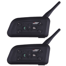 Fodsport 2pcs/lot V6 Pro Motorcycle Helmet Bluetooth Headset Intercom 6 Riders 1200M Wireless Intercomunicador BT Interphone(China)