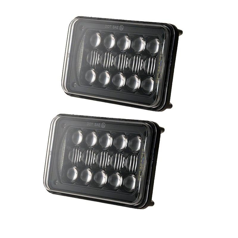LED Headlights 4x6 48W Rectangular lights Sealed beams H4 Headlamp high low DRL for H4651 H4652 H4656 H4666 H6545 <br>