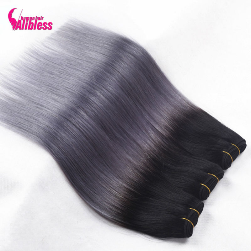 brazilian hair weave bundles ombre Silver Grey Ombre Human Hair Extensions 4 pcs 1B Dark Grey Straight Hair Two Tone Ombre Hair <br><br>Aliexpress
