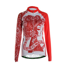 TVSSS Women Summer Cycling Jerseys Breathable Long Sleeve with Red Avatar Girl Bicycle Sportswear Quick Dry Cycling Clothing