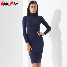 Buy Vestidos Sweater Dress Women Knitted Winter Long Sleeve Robe Femme Turtleneck Black Dress Warm Autumn Womens Clothing GAREMAY for $19.81 in AliExpress store