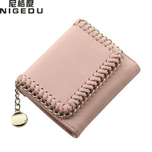 NIGEDU Women Wallets Tassel Pendant Short Money Wallets chain purse PU Leather Lady Coin Pocket Purses Female Cardbag Stella bag(China)