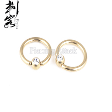 Free Shipping Body Jewelry Ball Closure  Ring Anodized  Clear Gem Captive Ring 14 Gauge 1.6*10*4mm Lot of 15pcs