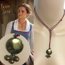 Belle Lariat Beauty and the Beast necklace 2017 Cosplay Movie Jewelry Leather Rope Handmade charm Accessory(China)
