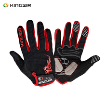 KINGSIR Cycling Gloves Spring&Autumn Style Elastic Retractile Breathable Wipe Sweat Fabric Damping Pad Convenient Velcro(China)